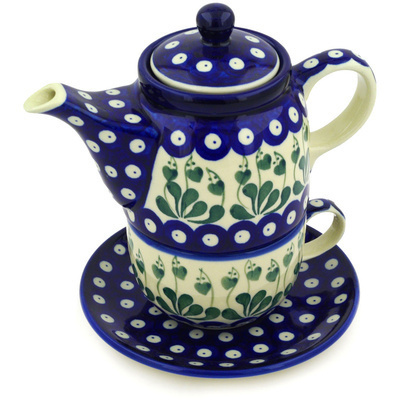 Polish Pottery Tea Set for One 17 oz Bleeding Heart Peacock