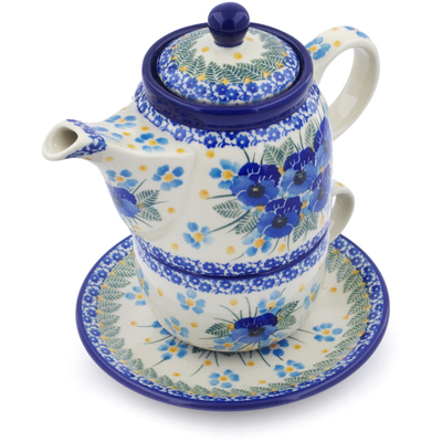 Polish Pottery Tea Set for One 17 oz Blue Dreams