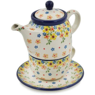 Polish Pottery Tea Set for One 17 oz Country Spring