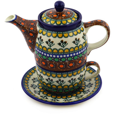 Polish Pottery Tea Set for One 17 oz Cranberry Medley UNIKAT