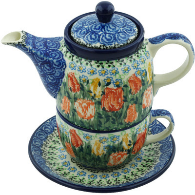 Polish Pottery Tea Set for One 17 oz Delightful Element UNIKAT