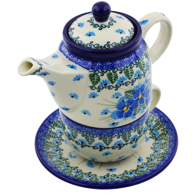 Polish Pottery Tea Set for One 17 oz Forget Me Not