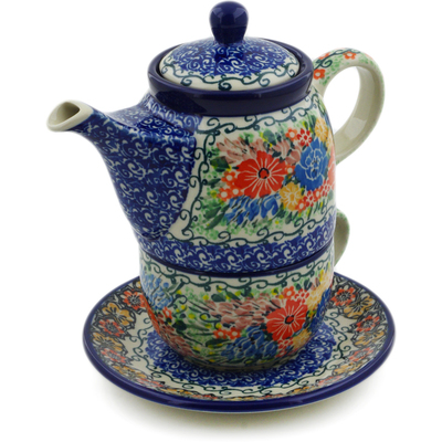 Polish Pottery Tea Set for One 17 oz Glorious Bouquet UNIKAT