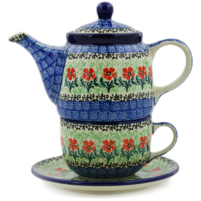 Polish Pottery Tea Set for One 17 oz Maraschino
