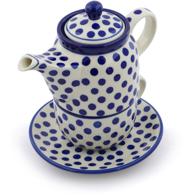 Polish Pottery Tea Set for One 17 oz Polka Dot Delight