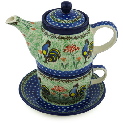 Polish Pottery Tea Set for One 17 oz Rooster Dance UNIKAT