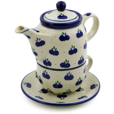 Polish Pottery Tea Set for One 17 oz Wild Blueberry