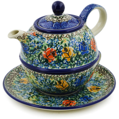 Polish Pottery Tea Set for One 22 oz Bluebonnets And Roses UNIKAT