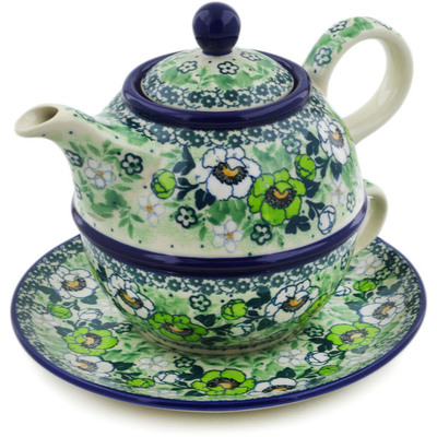 Polish Pottery Tea Set for One 22 oz Good Luck Pansy UNIKAT