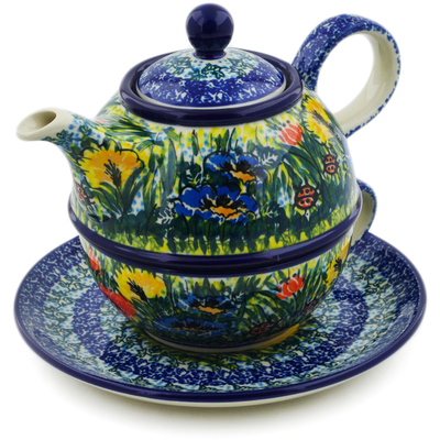 Polish Pottery Tea Set for One 22 oz Lucky Ladybug UNIKAT