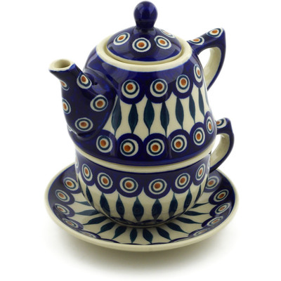 Polish Pottery Tea Set for One 22 oz Peacock