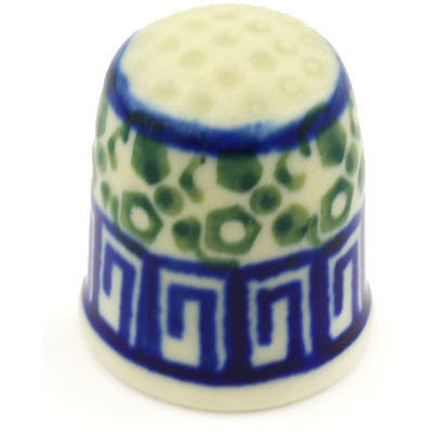 "Polish Pottery Thimble 1"" Mediterranean Sea"