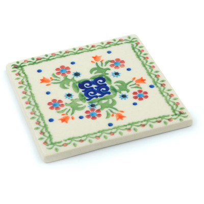 "Polish Pottery Tile 4"" Spring Flowers"