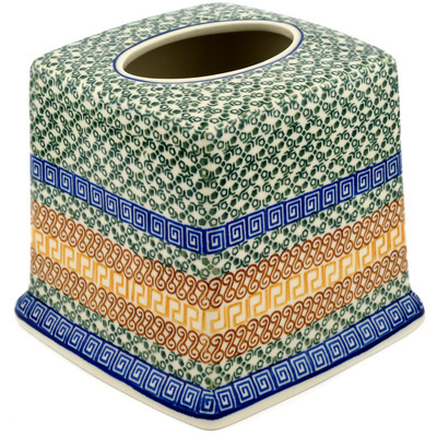 "Polish Pottery Tissue Box Cover 6"" Mediterranean Sea"