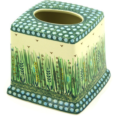 "Polish Pottery Tissue Box Cover 6"" Prairie Land UNIKAT"