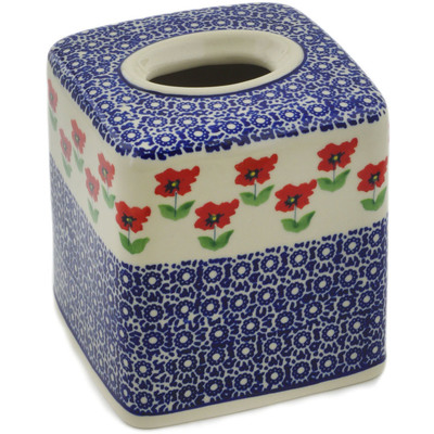 "Polish Pottery Tissue Box Cover 6"" Wind-blown Poppies"