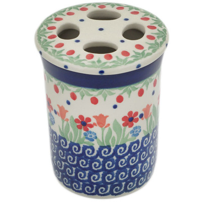 "Polish Pottery Toothbrush Holder 4"" Babcia's Garden"