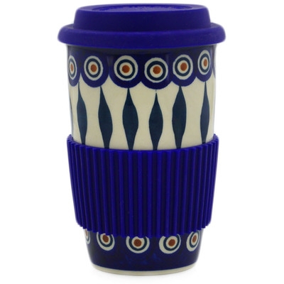 Polish Pottery Travel Coffee Mug Peacock