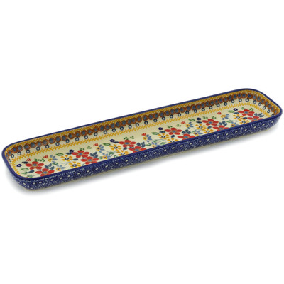 "Polish Pottery Tray 16"" Summer Bouquet UNIKAT"