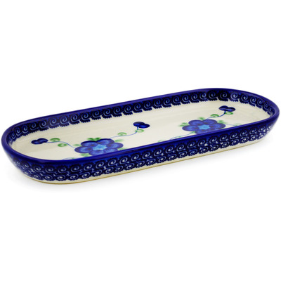 "Polish Pottery Tray 9"" Blue Poppies"