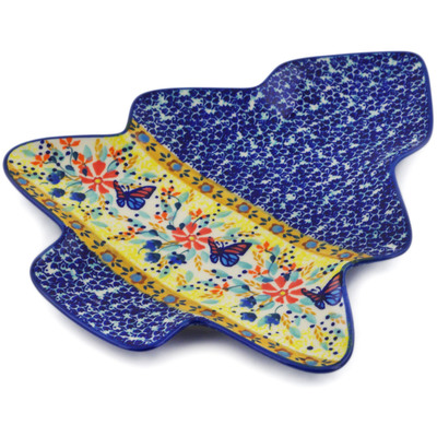 "Polish Pottery Tray 9"" Butterfly Summer Garden UNIKAT"