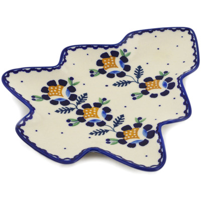 "Polish Pottery Tray 9"" Orange And Blue Flower"