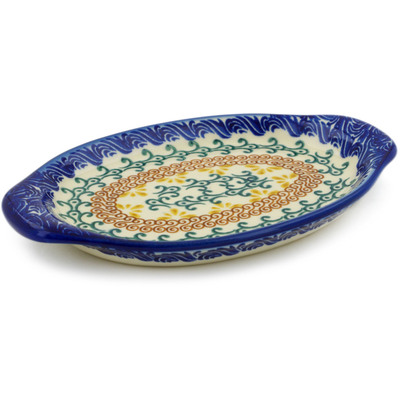"Polish Pottery Tray with Handles 7"" Autumn Swirls"