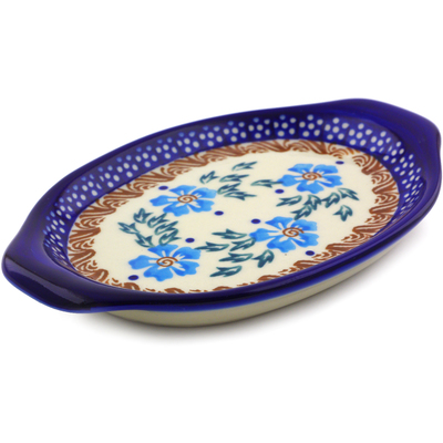 "Polish Pottery Tray with Handles 7"" Blue Cornflower"