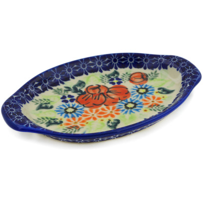 "Polish Pottery Tray with Handles 7"" Bold Poppies UNIKAT"