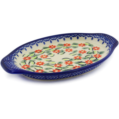 "Polish Pottery Tray with Handles 7"" Elegant Garland"
