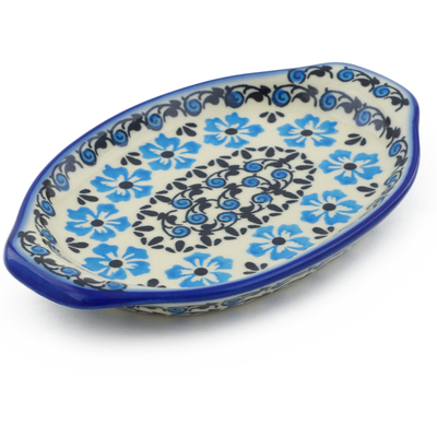 "Polish Pottery Tray with Handles 7"" Pansy Plenty"