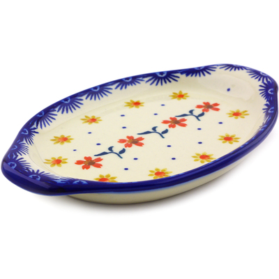 "Polish Pottery Tray with Handles 7"" Red Sunflower"