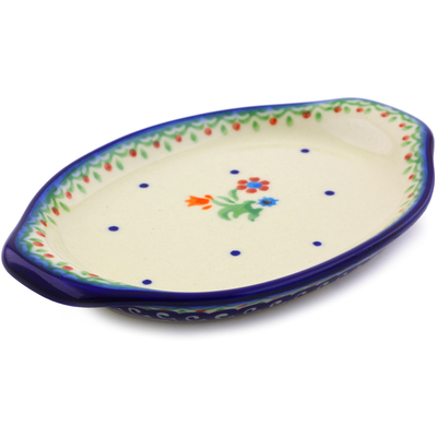 "Polish Pottery Tray with Handles 7"" Spring Flowers"