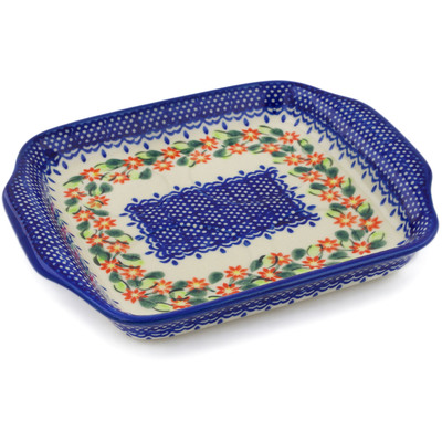 "Polish Pottery Tray with Handles 8"" Elegant Garland"