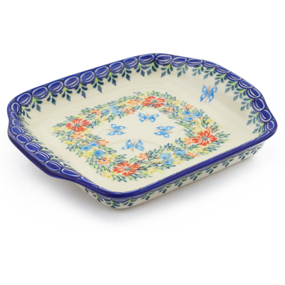 "Polish Pottery Tray with Handles 8"" Ring Of Flowers UNIKAT"