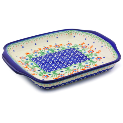 "Polish Pottery Tray with Handles 8"" Spring Flowers"