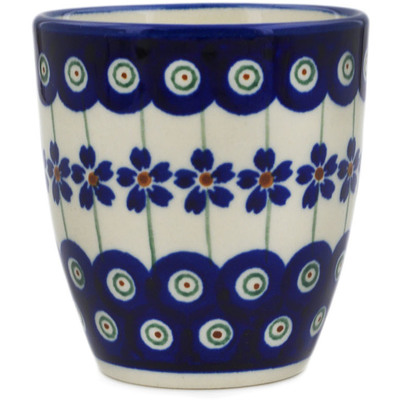 Polish Pottery Tumbler 6 oz Flowering Peacock