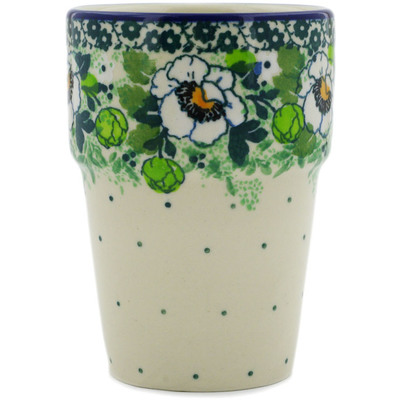 Polish Pottery Tumbler 7 oz Daisies Wreath UNIKAT