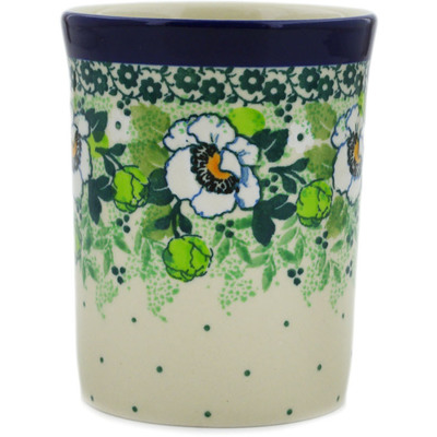 Polish Pottery Tumbler 8 oz Daisies Wreath UNIKAT