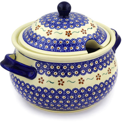 Polish Pottery Tureen 101 oz Sweet Red Flower