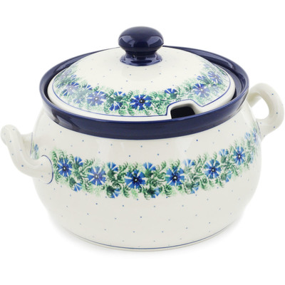 Polish Pottery Tureen 122 oz Blue Bell Wreath