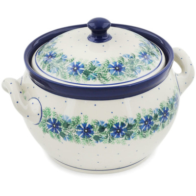 Polish Pottery Tureen 55 oz Blue Bell Wreath