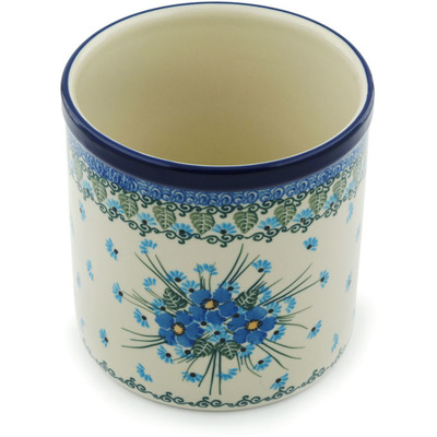 "Polish Pottery Utensil Jar 6"" Forget Me Not"