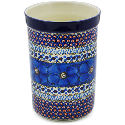 "Polish Pottery Utensil Jar 8"" Cobalt Poppies UNIKAT"