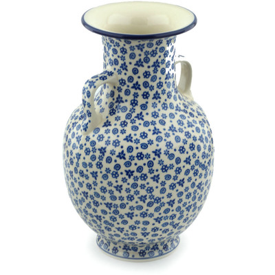 "Polish Pottery Vase 12"" Blue Confetti"