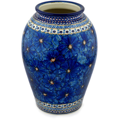 "Polish Pottery Vase 12"" Cobalt Poppies UNIKAT"
