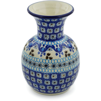 "Polish Pottery Vase 5"" Blue Ice"