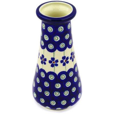 "Polish Pottery Vase 5"" Flowering Peacock"