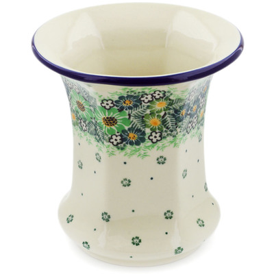 "Polish Pottery Vase 5"" Green Wreath UNIKAT"