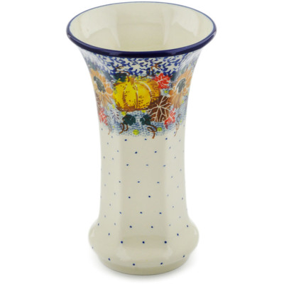"Polish Pottery Vase 7"" Autumn Falling Leaves UNIKAT"